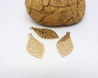 3 prints filigreed leaf 19 * 15mm gold (XEF32)