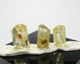 3 Specimens of natural rough yellow Apatite 3.21g from Mexico raw crystal for wire wrapping or jewelry (#PK972)