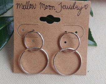Double Hoop Stud Earrings (small size)