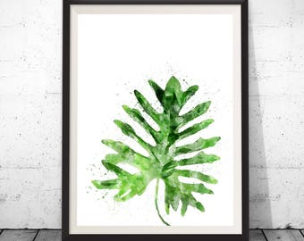 Tropical leaf print, leaf wall art, tropical decor, watercolor leaf art, tropical plant print, monstera leaf, monstera art, botanical art