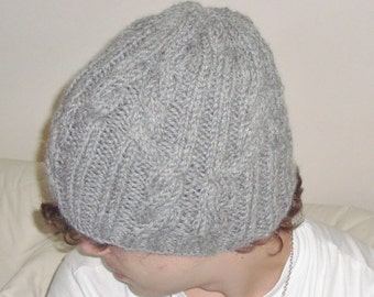 Alpaca Wool Mens Hats Men's Winter Beanie Hat Grey Cable Knit Men Hat, Mens Gifts for Him