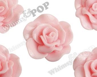 Large Light Baby Pink Rose Cabochons, Flower Cabochons, Flat Back Embellishment, Rose Flatback, 30mm x 28mm (R3-072)