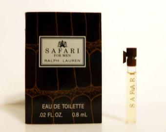 Vintage 1990s Safari for Men by Ralph Lauren 0.02 oz Eau de Toilette Sample Vial on Card MEN'S COLOGNE