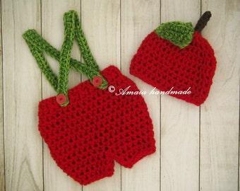Baby apple costume, newborn apple costume, crochet apple costume, crochet apple hat, baby apple hat, baby apple outfit, halloween costume