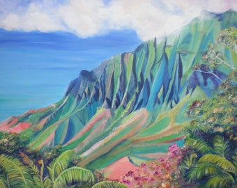 Kalalau Valley Kauai  5x7 Art Print Hawaii Kauai Paintings Hawaiian art teal turquoise blue kauaiartist kauai fine art kokee waimea