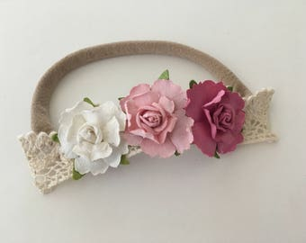 Mauve, Pink & White Flower Lace Nylon One Size Headband or Hair clip Newborn / Baby / Toddler / Girls / Portraits / Photos