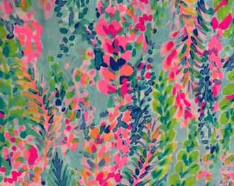MULTI CATCH the WAVE cotton poplin 3 sizes. 6 X 6 inches  , 9 X 18 inches  or 18 X 18 inches ~Lilly Pulitzer 2018 New Print!