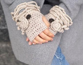 Ivory hand warmers, Ivory Sophia Rose hand warmers in Hand Painted merino wool, arm warmers, READY to SHIP, merino wool hand warmers, cuff
