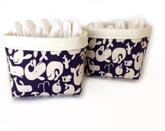 Fabric storage basket, nappy storage, nursery storage, ocean nursery, baby boy, baby gift, fabric pouch, fabric bin,