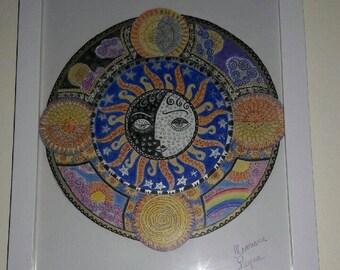 Sun and moon mandala original