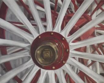 Well Spoken Original Oil Painting by Amy VanGaasbeck wagon wheel