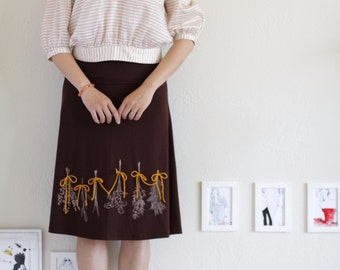 Gifts for wives, Casual skirt, Chocolate Brown Midi Summer Skirt, Knee Length A-line Skirt with Sage, Thyme print and Yarn Bows Apllique