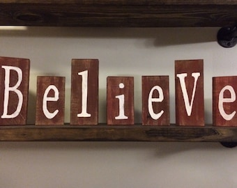 """Wooden rustic block set """"believe"""" made from reclaimed wood and hand painted"""