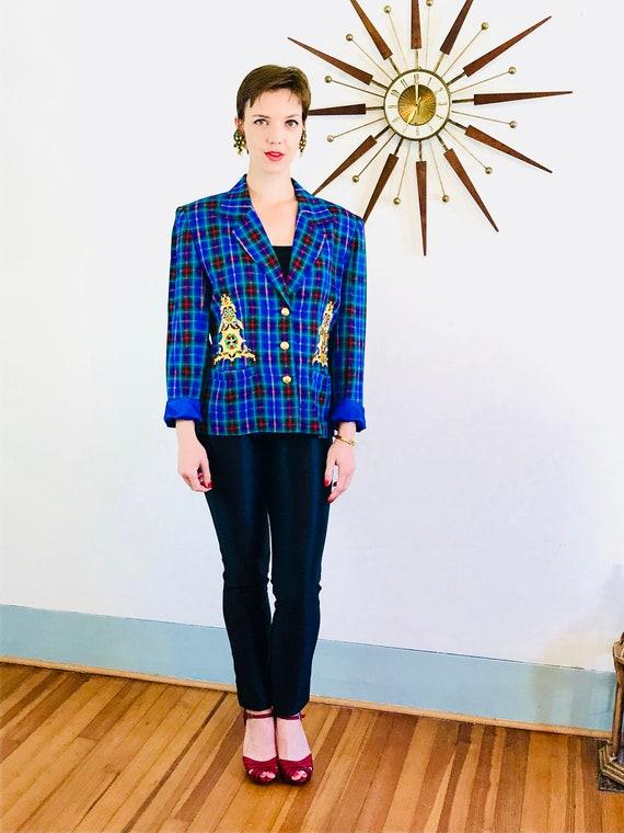 Plaid 90s jacket, Applique Rhinestone, Bright blue jacket, IB Diffusion, 1990s Preppy blazer, Womens plaid jacket, Boxy Shoulder Pads, Sz 10
