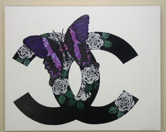CC Butterfly Painting (30x24) Chanel Inspired Artwork, CC, Butterfly Art, Fashion Art, Chanel Art