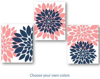 Flower Nursery Art, NAVY PINK Wall Art, Bedroom Pictures, Bathroom Artwork, Flower Pictures, Flower Burst Art, Flower Nursery Decor