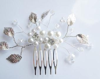 Bridal Hair Comb Wedding Hair Comb Bridal Hair Accessory Ivory White Pearl Comb Wedding headpiece Rhinestone Hair Comb
