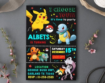 Pokemon Invitation/Pokemon Birthday/Pokemon Birthday Invitation/Pokemon Party/Pokemon Cards/Pokemon Download/Pokemon Invitation Download