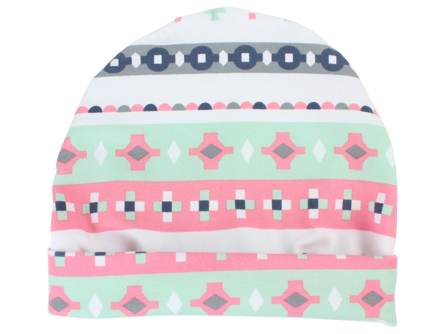 eae258d812a Pink and Mint Tribal Baby Beanie Top Knot Hat Baby Newborn Top Knot ...