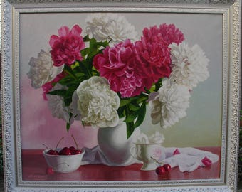 """Painting, """"Peonies and Cherries"""". Canvas, oil paints."""