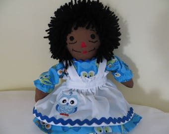 Mini Owl African American Personalized Raggedy Ann Doll 15 inches tall Handmade in the USA