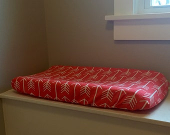 Changing Pad Cover - coral arrow