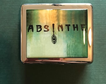 Absinthe Green Fairy 8 Day Pill Box with Mirror