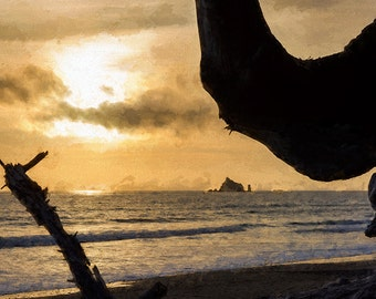 Seascape Photography, Pacific Ocean Sunset, Beach Photo, Sunset Photo, Digitally Painted Image,
