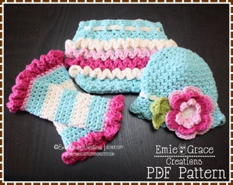 Crochet Headband Hat, Diaper Cover and Leg Warmers Patterns, KENNEDY - pdf 220, 710, 707