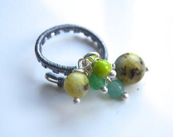Adjustable Ring green agate
