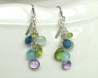 Amethyst, Peridot, Aquamarine, Chalcedony, and Apatite Earrings! A Lovely Tangle of Brilliance