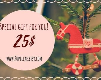 Gift Card by Pupillae, Printable or via mail Gift Certificate 25 dollars, accessories Gift Coupon, Last Minute Gift Voucher, Customized gift