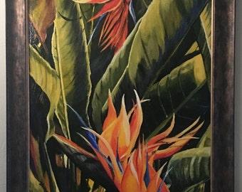 Birds of Paradise Acrylic Painting