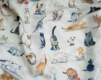 Cat Scarf, silk scarf with cats, scarf with kittens, meow scarf, scarf with illustrated cats, kitty cat scarf