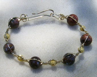 Vintage Bead Bracelet - Handmade Exquisite Lampwork Salmon Color & Gold Stardust in Gold, Wire Wrapped by JewelryArtistry - BR529