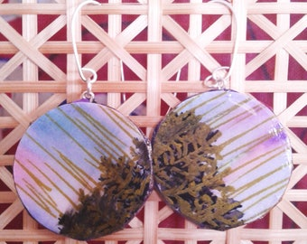 Hand painted Watercolor Abstract Art Earrings | Upcycled Paper & Mulberry Paper | Argentium Silver Hypoallergenic Earring Wire