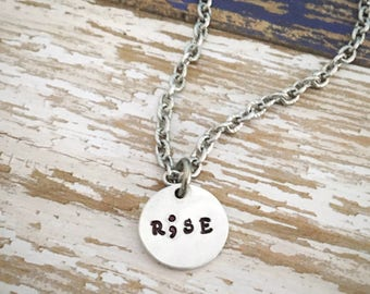 """Semicolon """"Rise"""" Handstamped Necklace with Hypoallergenic Stainless Steel Chain, R;se, 50% of profits donated to Suicide Prevention"""