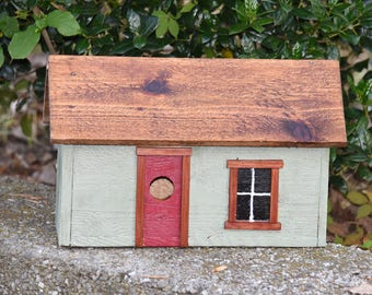 Handmade Primitive Birdhouse - Sage Green with Barn Red Door - Rustic Birdhouse - Country