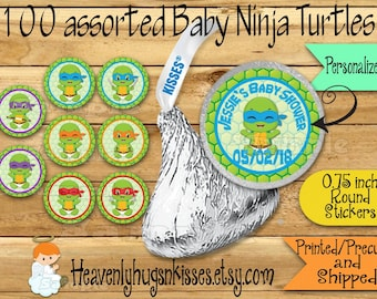 100 Chocolate kiss stickers Baby Ninja shower sticker Baby ninja Chocolate Stickers Turtle Kisses Label Thank you Party Favors Ninja Warrior