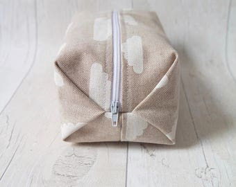 Large pleated zipper pouch/ Pencil case/ makeup bag, fully lined with water proof fabric.