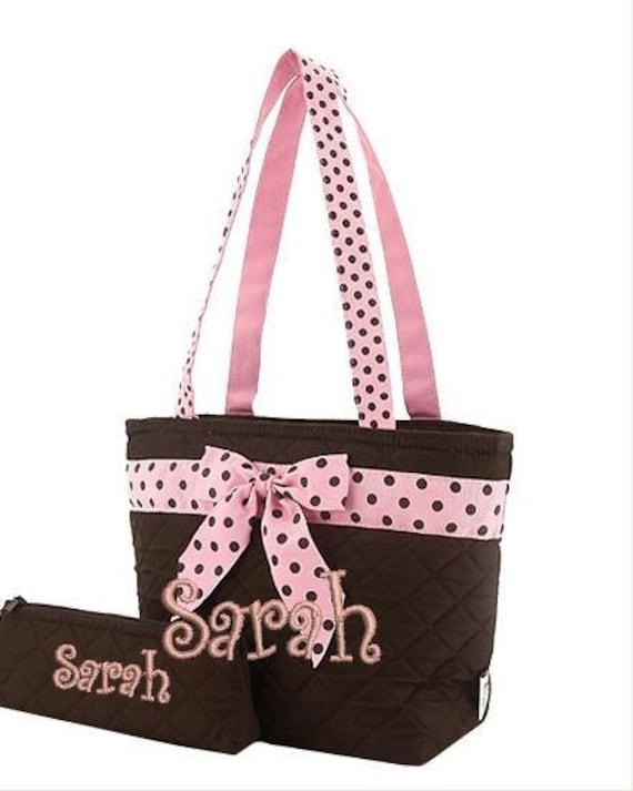 Brown & Pink polka dots Quilted 3 piece matching backpack and lunch bag set with utensil pouch. Book bag. Customize. Personalize. Monogram.
