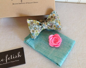 Rainbow floral dapper bow tie box set / pocket square box