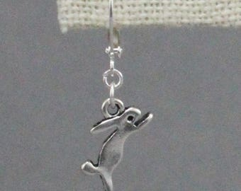 Tiny Leaping Bunny Earrings