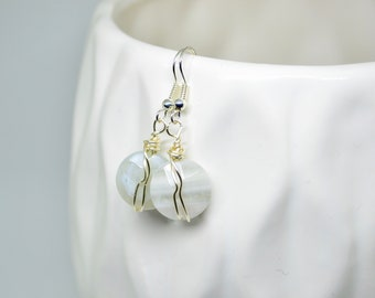 Round Earrings, Faceted Earrings, Dangle Earrings, Wire Wrapped Earrings, Silver Earrings, White Earrings