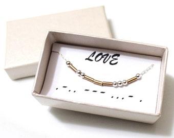 Love Morse Code, Morse Code Necklace, Custom Morse Code, Morse Code Jewelry, Love Jewelry, Love Necklace, Bridesmaid Gift, Christmas Gift