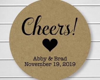 Cheers Stickers, Kraft Alcohol Wedding Favor Labels, Customizable Wedding Stickers (#215-KR)
