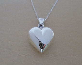 "925 Sterling Silver, Polished Puff Love Heart 13 mm Pendant / Charm on 16, 18 or 20"" Curb Chain"