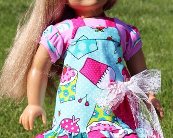 Matching Apron for 18 inch dolls like American Girl dolls and girls, cupcake patterned apron for dolls, apron fits 15, 16, and 18 inch dolls