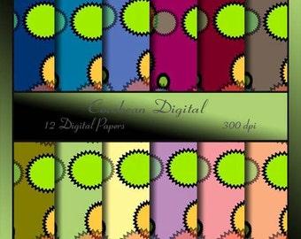 Circle Motif on a bright vibrant Digital Paper