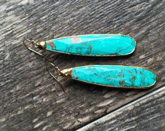 Turquoise Earrings,Turquoise Earrings Gold,Turquoise Dangle Earrings,Simple Turquoise Earrings,Turquoise Jewelry,Gold Turquoise Earring
